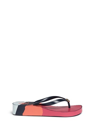 Main View - Click To Enlarge - Tory Burch - 'Thandie' print wedge flip flops