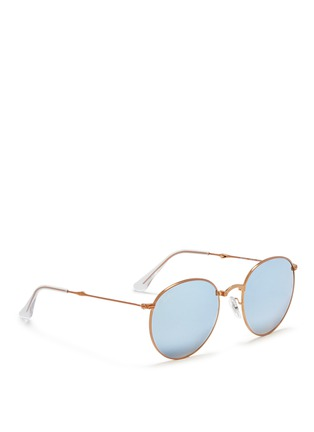 Figure View - Click To Enlarge - RAY-BAN - 'Round Metal Folding' mirror sunglasses