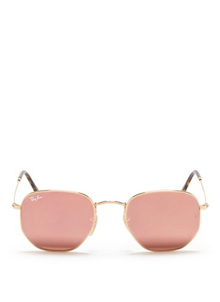 Main View - Click To Enlarge - Ray-Ban - 'RB3548' metal hexagonal mirror sunglasses