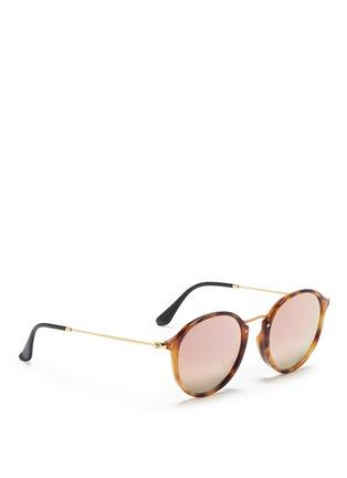 Figure View - Click To Enlarge - Ray-Ban - 'Round Fleck Flash' tortoiseshell acetate mirror sunglasses
