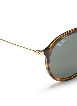 Detail View - Click To Enlarge - RAY-BAN - 'RB4253' metal temple tortoiseshell acetate aviator sunglasses