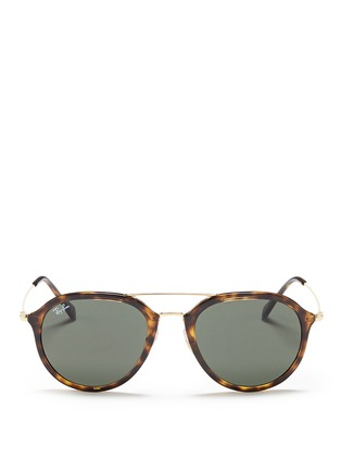 Main View - Click To Enlarge - RAY-BAN - 'RB4253' metal temple tortoiseshell acetate aviator sunglasses