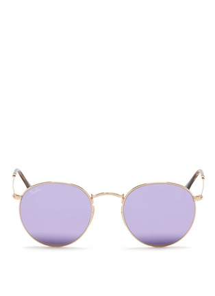 Main View - Click To Enlarge - Ray-Ban - 'RB3447' round metal mirror sunglasses