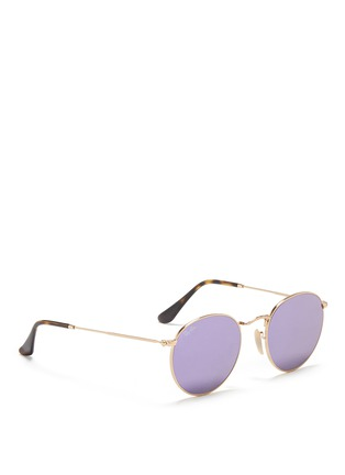 Figure View - Click To Enlarge - Ray-Ban - 'RB3447' round metal mirror sunglasses