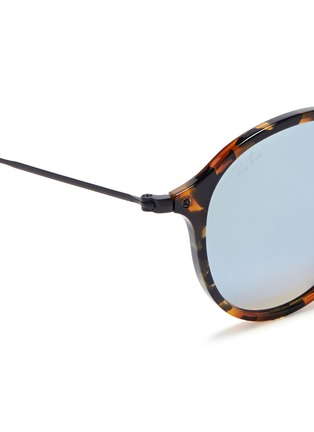 Detail View - Click To Enlarge - Ray-Ban - 'Round Fleck Flash' tortoiseshell acetate mirror sunglasses