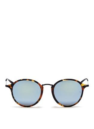 Main View - Click To Enlarge - RAY-BAN - 'Round Fleck Flash' tortoiseshell acetate mirror sunglasses