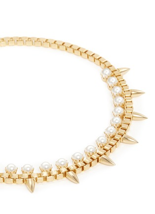 Detail View - Click To Enlarge - Joomi Lim - 'Love Thorn' faux pearl spike chain necklace