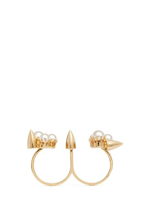 Main View - Click To Enlarge - Joomi Lim - 'Love Thorn' faux pearl two finger ring