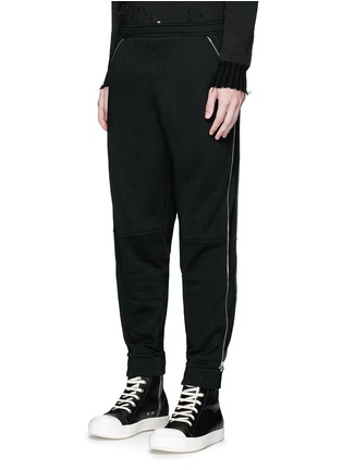 Front View - Click To Enlarge - Hood By Air - Logo zip side cotton fleece sweatpants
