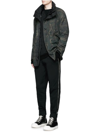 Figure View - Click To Enlarge - Hood By Air - Logo zip side cotton fleece sweatpants