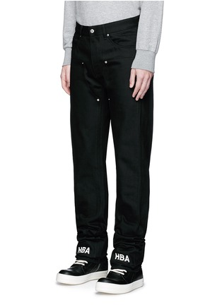 Front View - Click To Enlarge - Hood By Air - 'Double sag' logo print cuff jeans