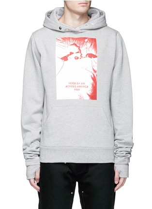 Main View - Click To Enlarge - Hood By Air - 'America Winds' print thumb hole slot hoodie