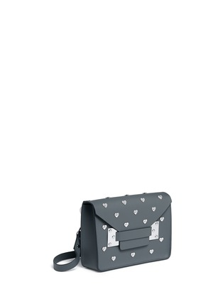 Front View - Click To Enlarge - SOPHIE HULME - 'Milner' mini heart stud envelope leather crossbody bag