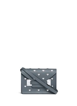 Main View - Click To Enlarge - SOPHIE HULME - 'Milner' mini heart stud envelope leather crossbody bag