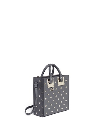 Front View - Click To Enlarge - Sophie Hulme - 'Albion Square' heart stud leather box tote