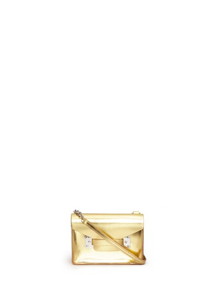 Main View - Click To Enlarge - Sophie Hulme - 'Milner Nano' metallic leather crossbody bag