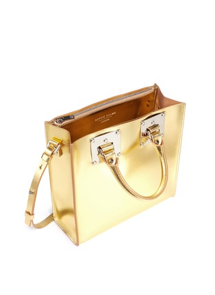 Detail View - Click To Enlarge - Sophie Hulme - 'Albion Square' metallic leather box tote