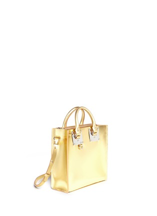 Front View - Click To Enlarge - Sophie Hulme - 'Albion Square' metallic leather box tote