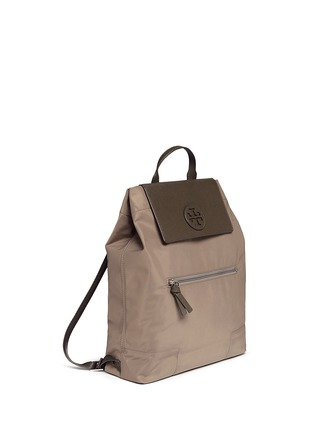 Front View - Click To Enlarge - Tory Burch - 'Ella' packable saffiano leather flap nylon backpack