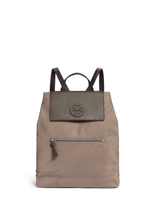 Main View - Click To Enlarge - Tory Burch - 'Ella' packable saffiano leather flap nylon backpack