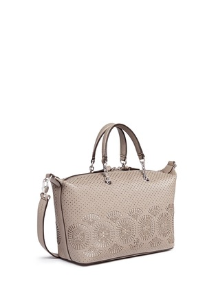 Front View - Click To Enlarge - Tory Burch - 'Zoey' small floral cutout perforated leather satchel