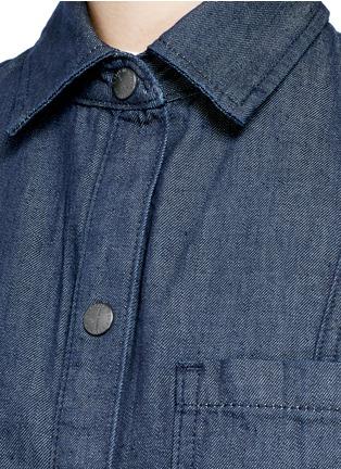 Detail View - Click To Enlarge - CURRENT/ELLIOTT - 'The Jackie' frayed hem belted denim dress