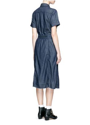 Back View - Click To Enlarge - CURRENT/ELLIOTT - 'The Jackie' frayed hem belted denim dress