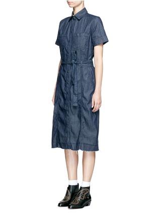 Front View - Click To Enlarge - CURRENT/ELLIOTT - 'The Jackie' frayed hem belted denim dress