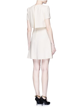 Back View - Click To Enlarge - Alexander McQueen - Pleat overlay crepe cape dress