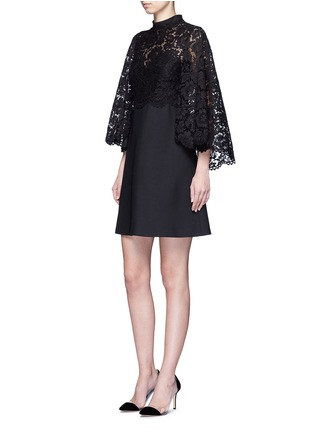 Figure View - Click To Enlarge - VALENTINO - Lace cape sleeve Crepe Couture dress