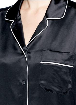 Detail View - Click To Enlarge - - - Contrast piping silk satin pyjama shirt