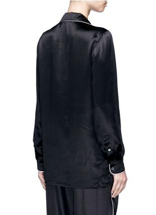 Back View - Click To Enlarge - - - Contrast piping silk satin pyjama shirt