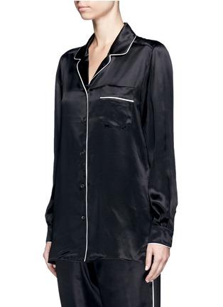 Front View - Click To Enlarge - - - Contrast piping silk satin pyjama shirt