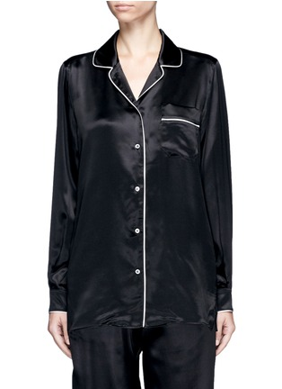 Main View - Click To Enlarge - - - Contrast piping silk satin pyjama shirt
