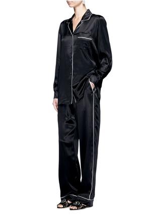 Figure View - Click To Enlarge - - - Contrast piping silk satin pyjama shirt