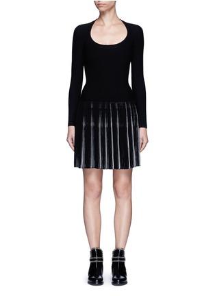Main View - Click To Enlarge - Alaïa - 'Seguidille' plissé pleat knit long sleeve dress