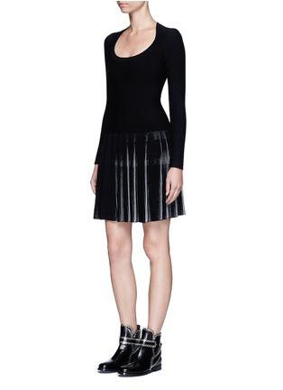 Figure View - Click To Enlarge - Alaïa - 'Seguidille' plissé pleat knit long sleeve dress
