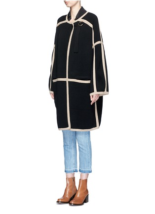 Front View - Click To Enlarge - Chloé - Contrast trim wool-cashmere coat