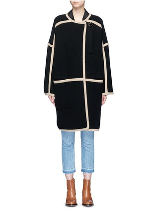 Main View - Click To Enlarge - Chloé - Contrast trim wool-cashmere coat