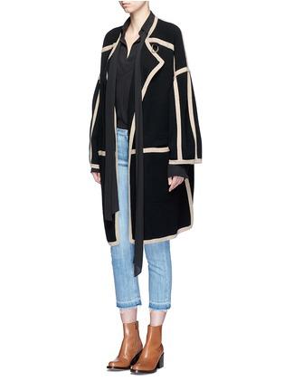 Figure View - Click To Enlarge - Chloé - Contrast trim wool-cashmere coat