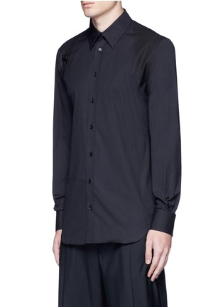 Front View - Click To Enlarge - Alexander McQueen - Slim fit harness cotton shirt