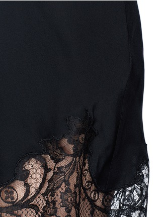Detail View - Click To Enlarge - Givenchy - Floral lace trim off-shoulder silk dress