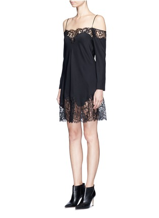 Front View - Click To Enlarge - Givenchy - Floral lace trim off-shoulder silk dress