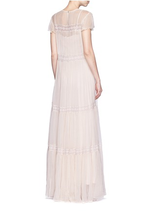 Back View - Click To Enlarge - Needle & Thread - Inset lace crinkled chiffon gown