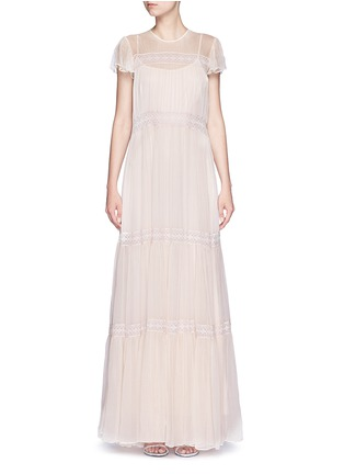Main View - Click To Enlarge - Needle & Thread - Inset lace crinkled chiffon gown