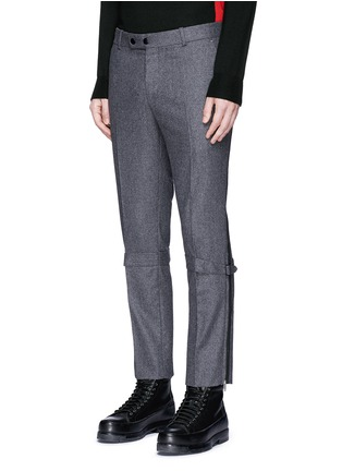 Front View - Click To Enlarge - Alexander McQueen - Harness wool flannel cropped pants
