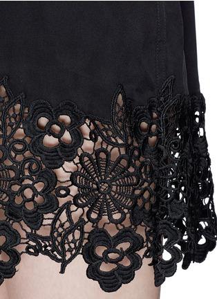 Detail View - Click To Enlarge - Equipment - 'Lucida' lace hem sleeveless silk shirt dress