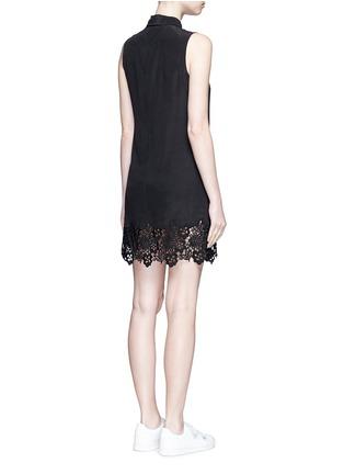 Back View - Click To Enlarge - Equipment - 'Lucida' lace hem sleeveless silk shirt dress
