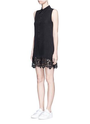 Front View - Click To Enlarge - Equipment - 'Lucida' lace hem sleeveless silk shirt dress