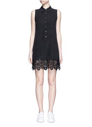 Main View - Click To Enlarge - Equipment - 'Lucida' lace hem sleeveless silk shirt dress
